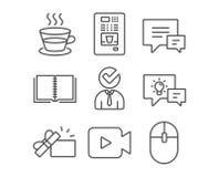 Copo de café, ícones da vaga e do comentário Vender do café, sinais do livro e da câmara de vídeo Foto de Stock