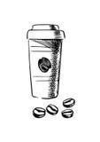 Copo de café afastado com feijões Imagem de Stock