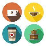 Copo de café ajustado com feijão, moinho de café e vetor liso do coração Imagens de Stock Royalty Free