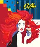 Copo de café bebendo da mulher bonita ilustração royalty free