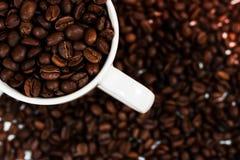 Copo de café branco e feijões de café Uso como o fundo fotos de stock