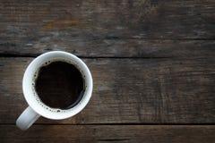 Copo de café branco no fundo de madeira. Imagem de Stock Royalty Free