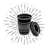 Copo de café branco Vector a rotulação desenhado à mão para cópias, cartazes, projeto do menu Copo de café dos desenhos animados Foto de Stock Royalty Free