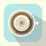 Copo de café com ícone do chantiliy e do caramelo ilustração royalty free