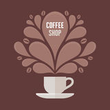 Copo de café com elementos florais do projeto do vintage Fotos de Stock Royalty Free