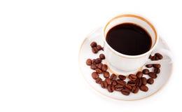 Copo de café com feijões imagem de stock