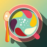 Copo de café com pirueta colorida da mistura, conceito engraçado Foto de Stock