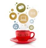 Copo de café com social e ícones dos meios em bolhas coloridas Fotografia de Stock Royalty Free