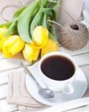 Copo de café da manhã foto de stock