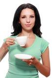 Copo de café da mulher fotografia de stock