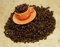 Copo de café decorativo na pilha de feijões de café Fotos de Stock