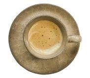 Copo de café do Latte ou do cappuccino com a placa no fundo branco foto de stock royalty free