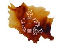 Copo de café do logotipo com com esboço dos feijões de café na ilustração derramada do vetor do fundo do café ilustração do vetor