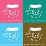 Copo de café do logotipo com quadrado de quatro cores ilustração royalty free