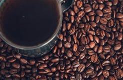 Copo de café e feijões de café Foto de Stock