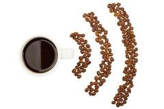 Copo de café e símbolo de RSS das colheitas do café Foto de Stock Royalty Free