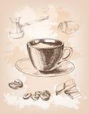 Copo de café em um fundo bonito feito à mão ilustração royalty free