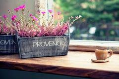 Copo de café na cafetaria com o potenciômetro de flor ao lado dele Imagem filtrada: efeito processado cruz do vintage Foto de Stock Royalty Free