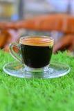 Copo de café no relvado artificial Imagem de Stock Royalty Free
