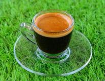 Copo de café no relvado artificial Foto de Stock Royalty Free
