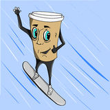 Copo de café no snowboard Foto de Stock