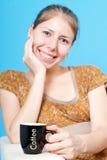 Copo de café para um sorriso grande foto de stock royalty free