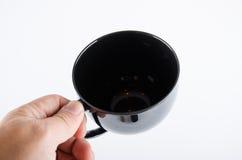 Copo de café preto no branco Imagem de Stock