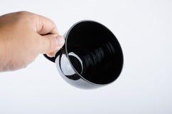 Copo de café preto no branco Fotos de Stock