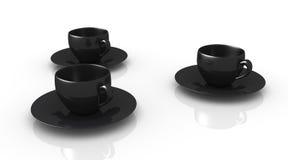 Copo de café. Três copos pretos Fotografia de Stock Royalty Free