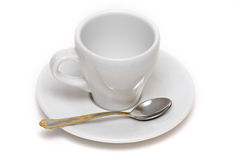 Copo de café vazio com colher Fotografia de Stock