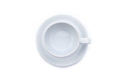 Copo de café vazio no fundo branco Fotos de Stock