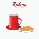 Copo de café vermelho com pão da padaria Ilustração Royalty Free