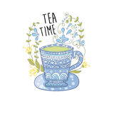 Copo de chá azul Fotografia de Stock Royalty Free