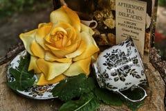 Copo de chá cerâmico do vintage com flor amarela Imagem de Stock Royalty Free