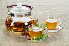 Copo de chá com as folhas de hortelã fresca Fotografia de Stock Royalty Free