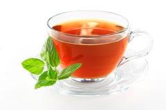 Copo de chá com licença de hortelã Foto de Stock Royalty Free