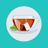 Copo de chá com vetor liso do projeto das folhas Imagem de Stock Royalty Free