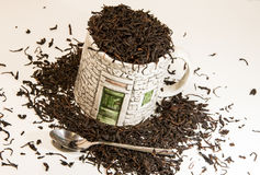 Copo de chá com colher Fotografia de Stock