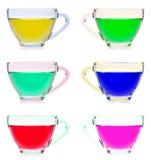 Copo de chá de vidro no fundo branco imagem de stock royalty free