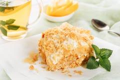 Copo de chá de Napoleon Cake Custard Cream Dessert fotos de stock