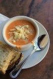 Copo de cozinhar a sopa do tomate e do queijo cheddar Imagens de Stock Royalty Free