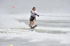 Copo de mundo 2008 do esqui de água na ação: Slalom da mulher Fotografia de Stock Royalty Free