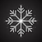 Copo de nieve chispeante de plata del vector Fotos de archivo libres de regalías