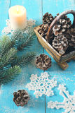 Copo de nieve, conos del pino y vela hecho a ganchillos Foto de archivo