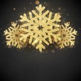Copo de nieve cubierto brillo chispeante del oro Plantilla de la tarjeta de Navidad de la Feliz Año Nuevo y de la invitación EPS  stock de ilustración