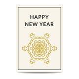 Copo de nieve de oro de la tarjeta de felicitación de la Feliz Año Nuevo Foto de archivo libre de regalías