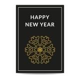 Copo de nieve de oro de la tarjeta de felicitación de la Feliz Año Nuevo Imagenes de archivo