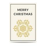 Copo de nieve de oro de la tarjeta de felicitación de la Feliz Navidad Imagenes de archivo