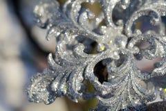 Copo de nieve de plata en nieve fotos de archivo libres de regalías