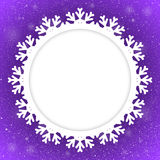 Copo de nieve de Violet Background New Year Snow del círculo Foto de archivo libre de regalías